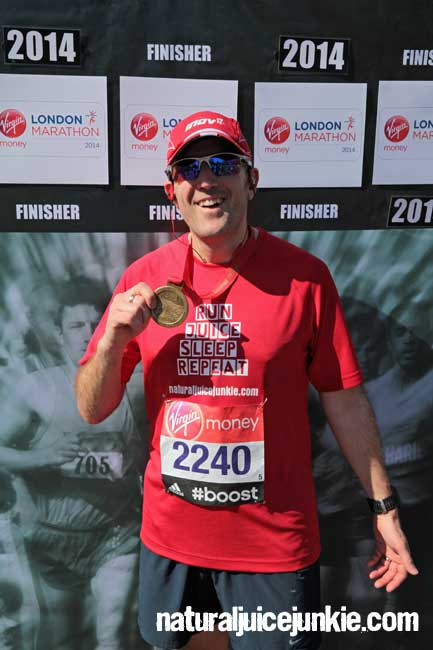 natural juice junkie finishing london marathon 2014