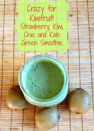 Strawberry, Kiwi, Chia and Kale Green Smoothie