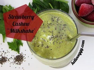 "Strawberry ""Milk"" Shake Green Smoothie"